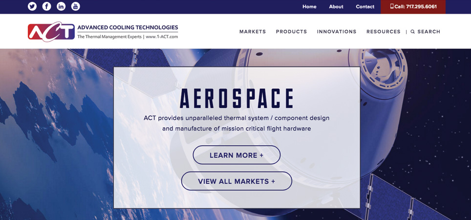 Advanced Cooling Technologies page - aerospace