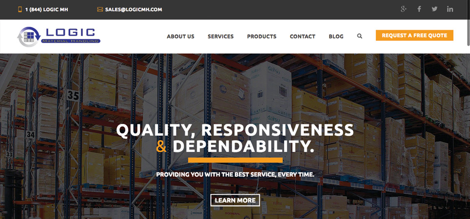 Logic Material Handling page - quality, responsiveness & dependability