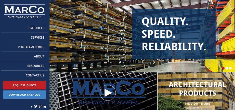 MarCo Specialty Steel page - quality speed reliability