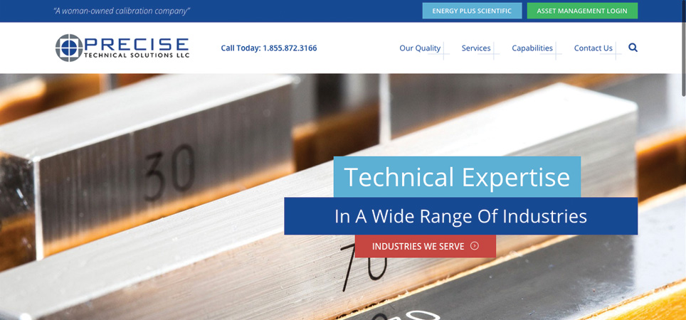 Precise Technical Solutions page - technical expertise