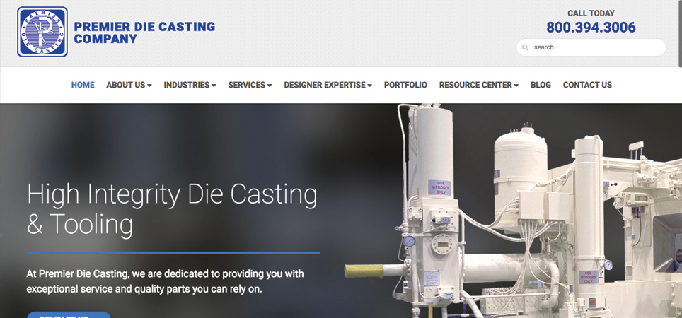 Premier Die Casting Company page - die casting and tooling