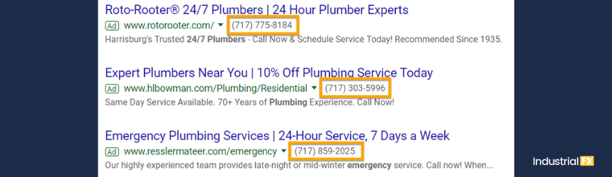 A screenshot of call extensions for Google Ads