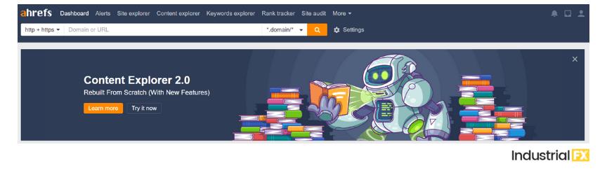 A screenshot of Ahrefs, a content marketing tool