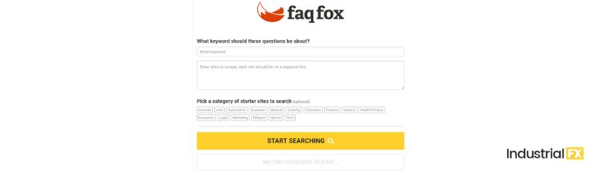 A screenshot of FAQ Fox, a content marketing tool