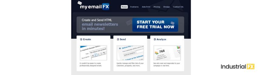 A screenshot of MyEmailFX, a content marketing tool