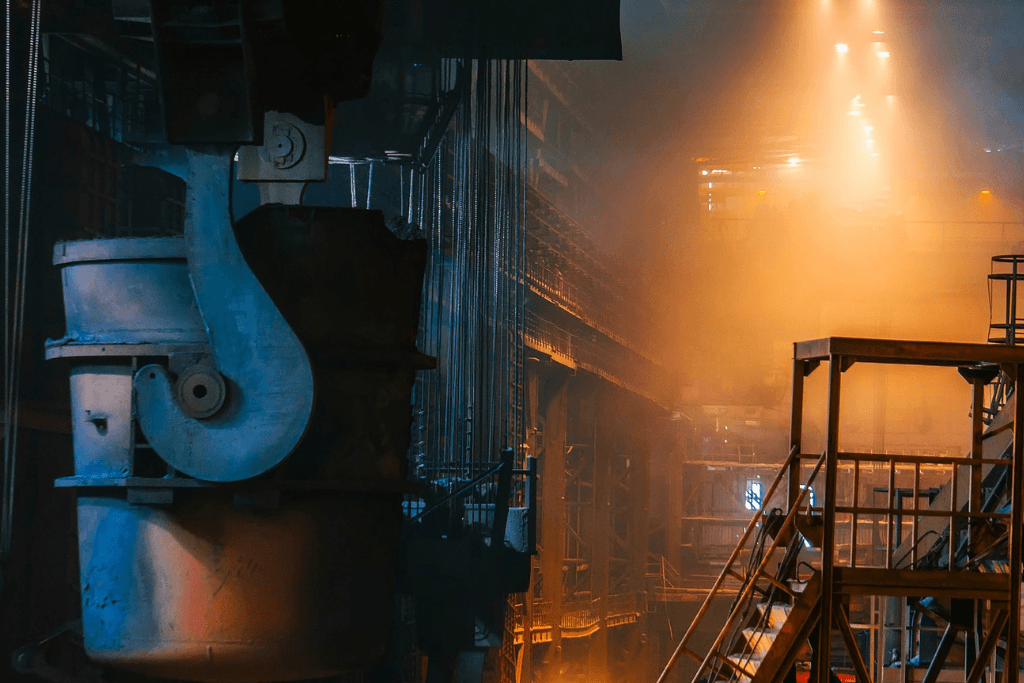 The inside of a steel manufacturing plant